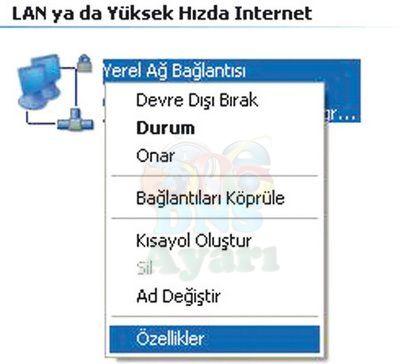Windows XP DNS Değiştirme Adım 1